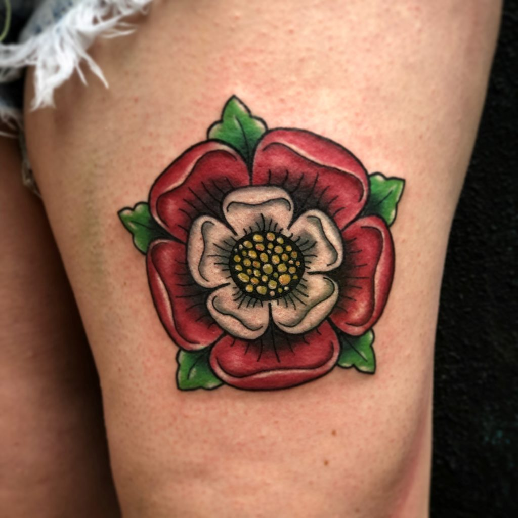 Red flower on leg